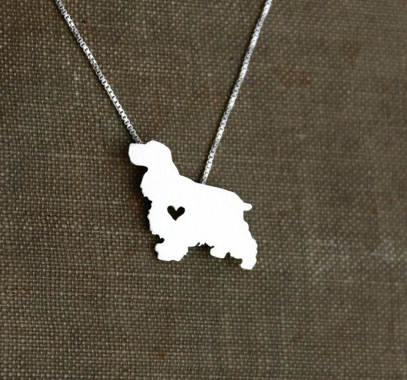 Cocker Spaniel necklace tiny sterling silver por JustPlainSimple