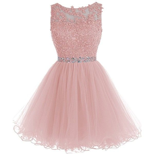 Tideclothes Short Beaded Prom Dress Tulle Applique Evening Dress (£60) ❤ liked on Polyvore featuring dresses, pink prom dresses, pink cocktail dress, tulle prom dresses, short cocktail dresses et tulle dress