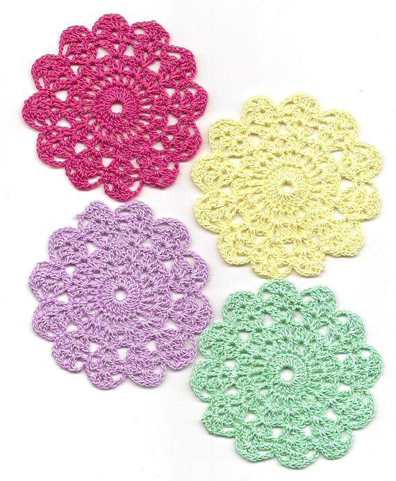 Set Of 4 Crocheted Doilies Crochet Medallions Assortment Mini