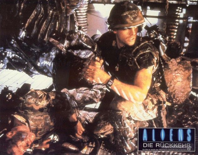 Aliens lobby card with Michael Biehn
