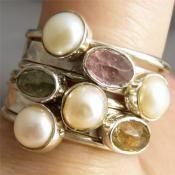 Zilveren ringen set gezet met Toermalijn en Parel | Zilveren Edelsteen Ringen | Zilveren Edelsteen Sieraden | Stones and Silver Wear