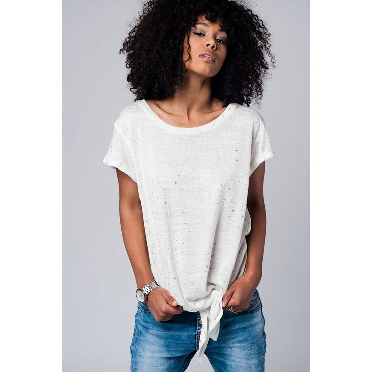 Vendor: Q2 StoreType: Women - Apparel - Shirts - BlousesPrice: 43.00  White t-shirt in silver star print with frontal knot detail and round neck and short sleeves. Color: White  Material: 55% Polyester 45% Cotton  Item Fit / Dimensions: Regular fit  Made In: United States  Shipped From: United States  Lead Time: 1 - 2 Days  Star print white t-shirt