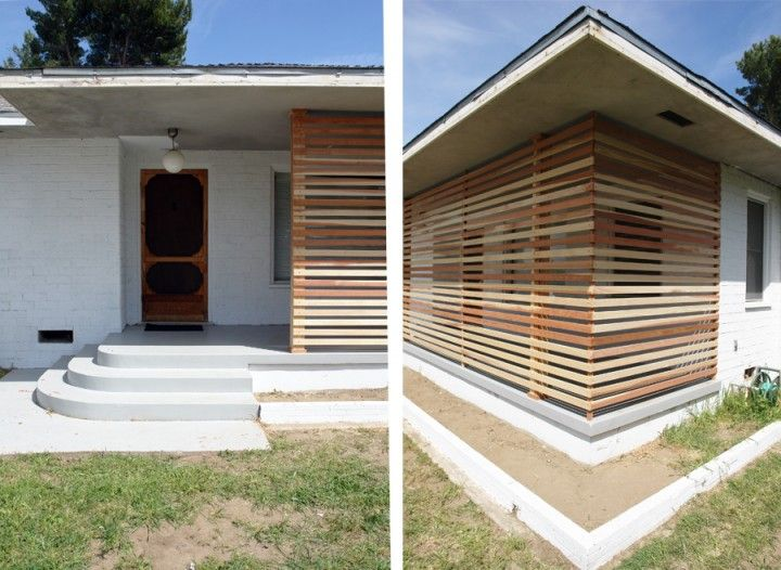 Build a wooden slat screen for shade on the porch and architectural interest.