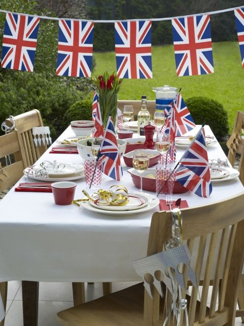 A Royal Wedding Tea Party...of course! ;)    The real way to enjoy wonderful tea! A Street Party Decoration Pack will provide everything you need for a VE Day Party like this. http://www.novelties-direct.co.uk/union-jack-great-britain-theme-pack.html