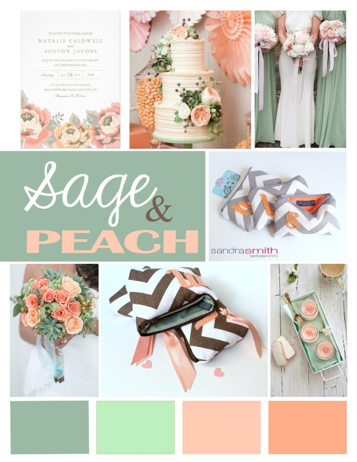 Sage and Peach wedding color palette #rusticwedding #farmwedding  shopsandrasmith.com