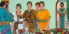 Daniel, Sadrac, Mesac y Abednego rechazan la comida y el vino del rey Nabucodonosor
