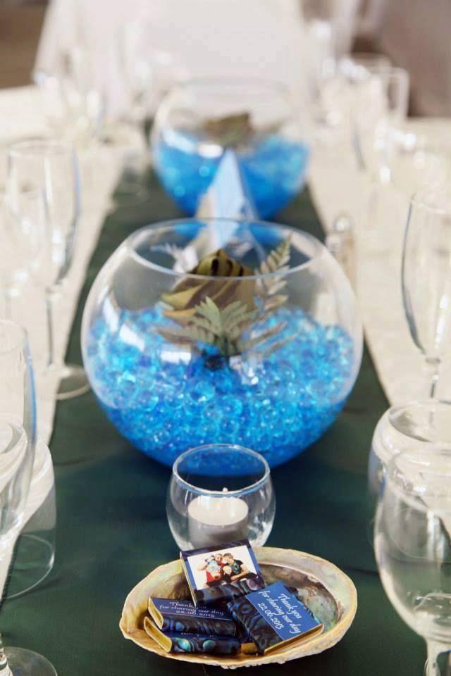 Flax flower & gel ball centrepiece in a glass bowl.  www.flaxation.co.nz