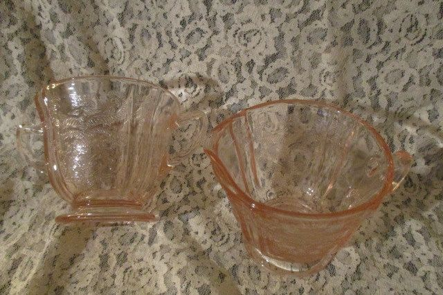 Federal Glass Madrid Pink Depression Glass Open Footed Sugar Bowl & Creamer c1932 -1939 by VantiqueFinds on Etsy