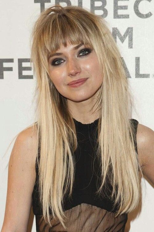 Best 25 blonde hair bangs ideas on pinterest blonde hair with love this hair imogen poots long hairstyles sciox Gallery