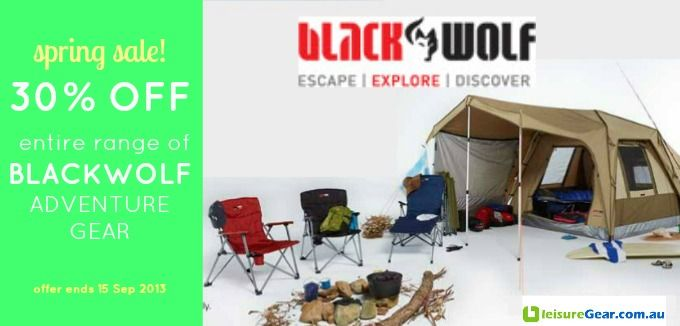 Spring Special! 30% Off Blackwolf Adventure Gear. Tents, sleeping bags, roller bags, daypacks, rucksacks and more. Free shipping on orders over $80