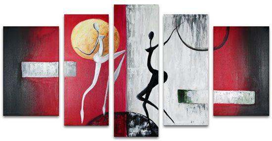 Tavla figurativ, oljemålning Moondancers. Silhouette av 2 damer, figurer i svart och silver mot abstrakt bakgrund i vinröd, svart och grå