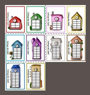 Rechenhäuser in Montessorifarben
