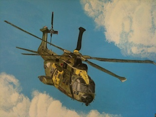 "Helicopter EH101 Watercolor ""aquarelle"" and acrylic."