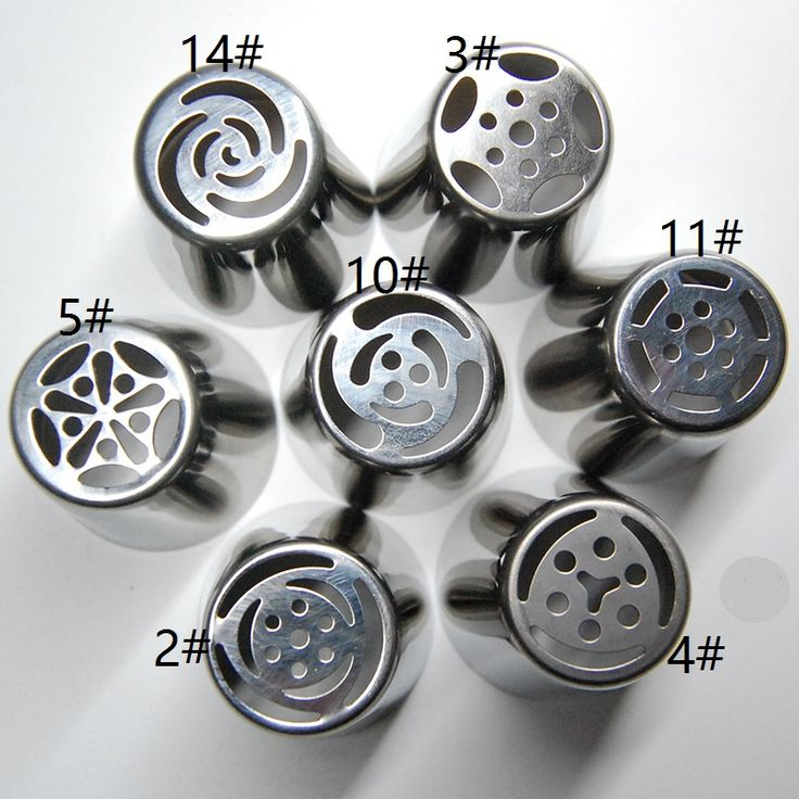 Pastry Tips Set 7pcs Stainless Steel Russian Pastry Nozzles Fondant Icing Piping Cake Decorating Tips BP10