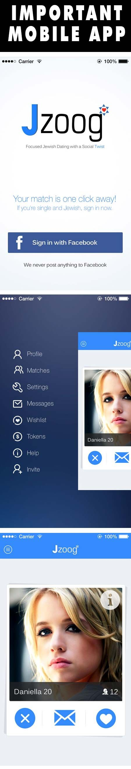 Jzoog is a new Jewish dating app that finds Jewish singles based on search criteria that you create. Login via Facebook and create your free profile on the dating app or on the Jzoog.com website.
