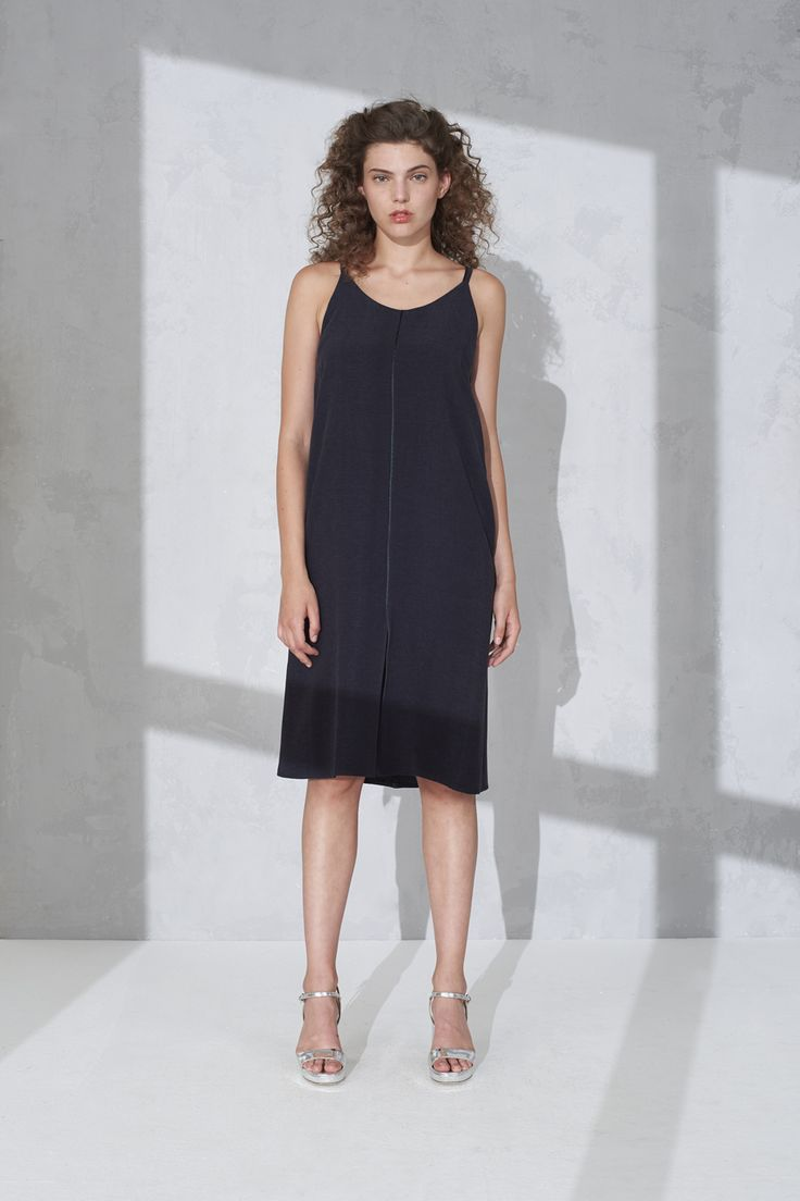 Silky spaghetti dress with front slit
