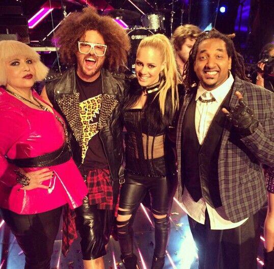 Rochelle Pitt, Redfoo, Reigan Derry, Jason Heerah. Xfactor Australia Live Show 6. Rock Week.