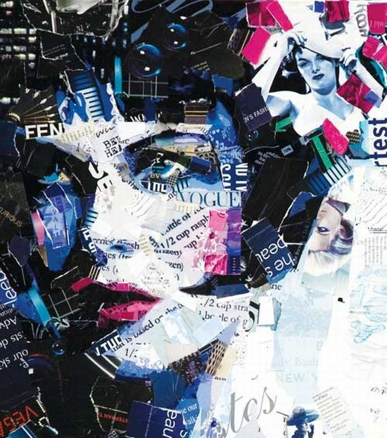 Idea | Derrek Gores creates amazing collage art from recycled magazines The graphic designer utilizes hand-rip recycled magazines, maps, and schematics to bring out his caricatured posters, which characterize feminine qualities of the figure he draws on an unusual canvas.
