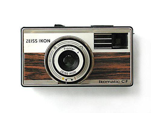 Vintage camera. Faux wood grain