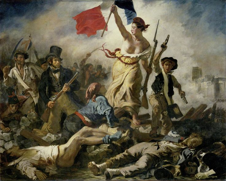 [p. 20] Eugène Delacroix (French, 1798-1863) Liberty Leading the People (July 28, 1830). Salon of 1831. Oil on canvas; 260 cm x 325 cm. Paris: Musée du Louvre, R.F. 129. Found by: Prof. De Young