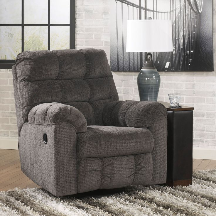 Signature Design By Ashley Acieona Slate Swivel Rocker Recliner Furniture ChairsLiving Room