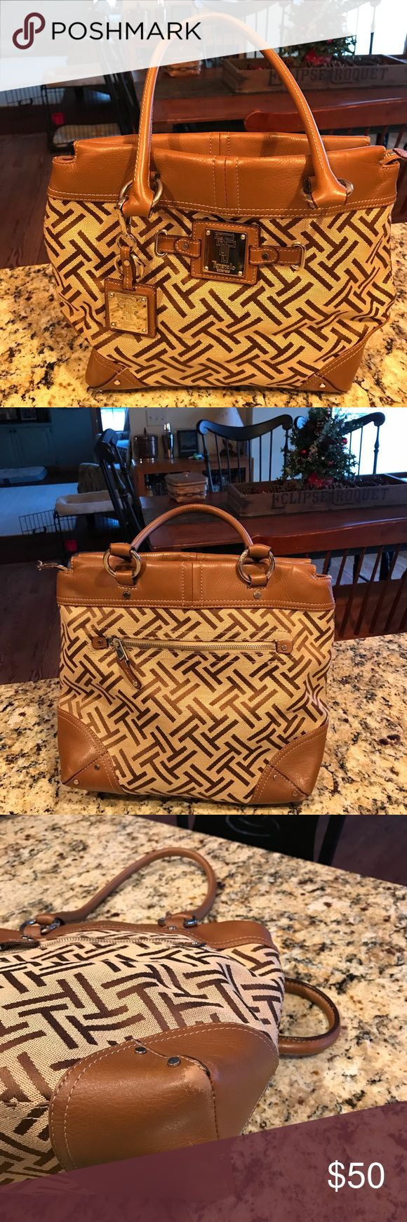 Tignanello Handbag Large fabric handbag with leather accents. Very good condition. Wear shown on picture. Great size, comfy to wear bag. Tignanello Bags Totes