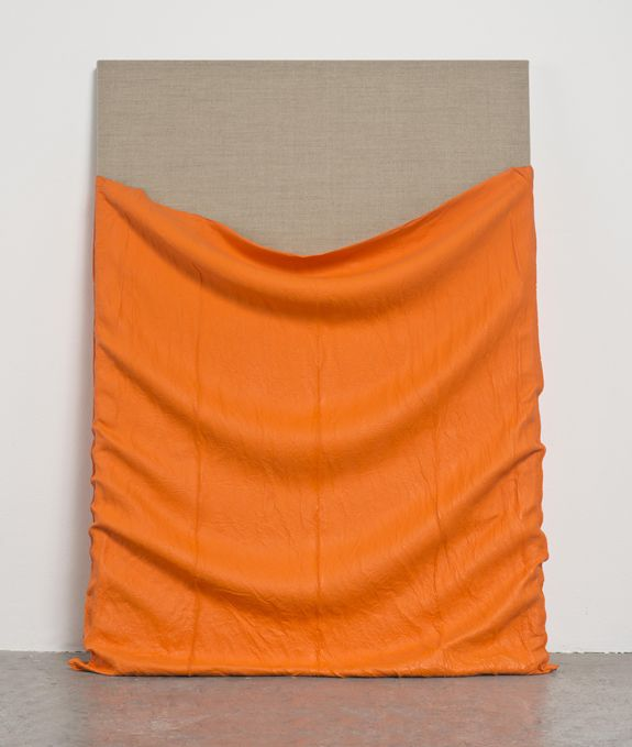 ANALIA SABAN STUDIO33-Gallon Orange Trash Bag  2014  Acrylic on canvas  39 1/4 x 31 x 5 1/2 inches  Photo credit: Brian Forrest  Image courtesy of Galerie Sprüth Magers