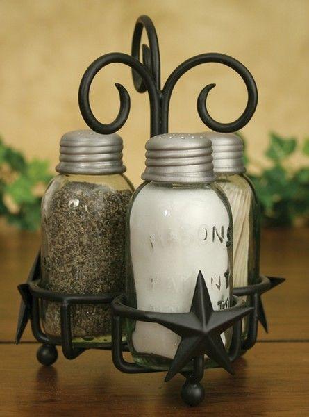 Barn Star Mason's Patent Salt Pepper Toothpick Caddy (Rustic Brown) - Mason Jar Shoppe