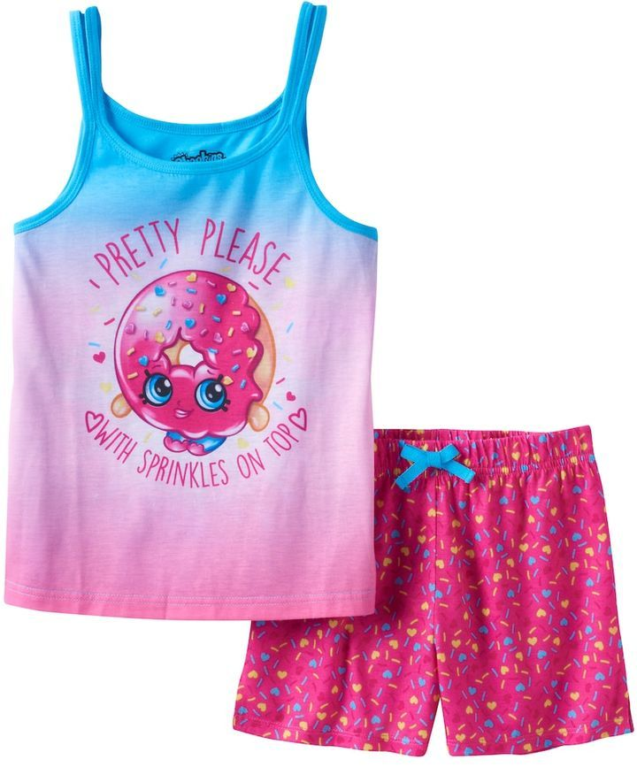 """Girls 4-12 Shopkins D'Lish Donut """"Pretty Please With Sprinkles On Top"""" Pajama Set"""