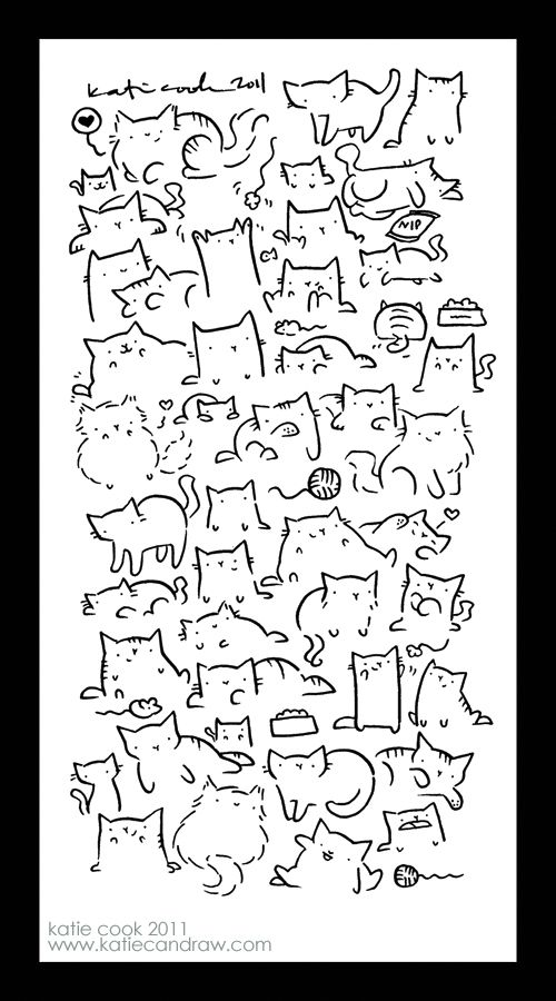 katie can draw cats... lots of cats a page from my sketchbook... i like to doodle cats. lots and lots of cats.