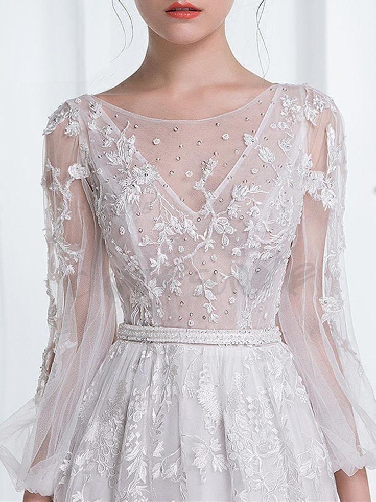 レース ウェディングドレス シースルー結婚式ドレス 12486300 - 2017 ウェディングドレス - Doresuwe.Com