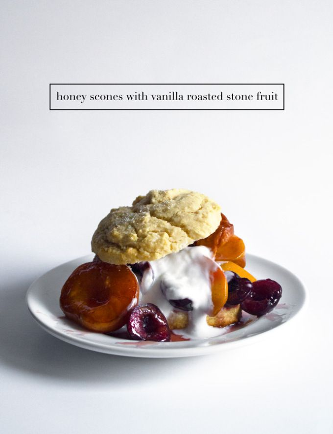Honey Scones With Vanilla Roasted Stone Fruit | Grain, gluten and dairy free options also included!