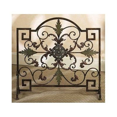 Fire-Screen-Fireplace-Protector-Guard-Vintage-Leaves-Cabin-Rustic-Metal-Divider
