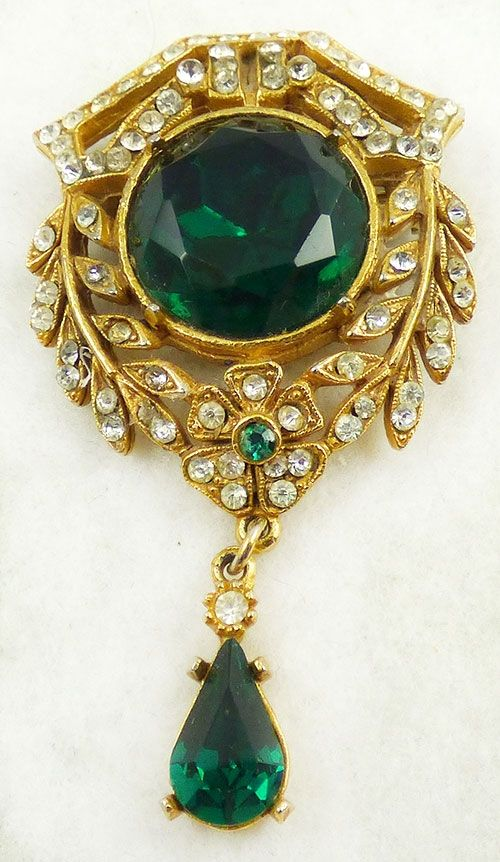 2c1d2f3c6 Art Victorian Revival Emerald Rhinestone Brooch - Garden Party Collection Vintage  Jewelry