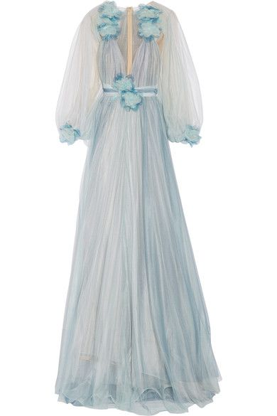 MARCHESA Feather and floral-appliquéd tulle gown. #marchesa #cloth #dresses