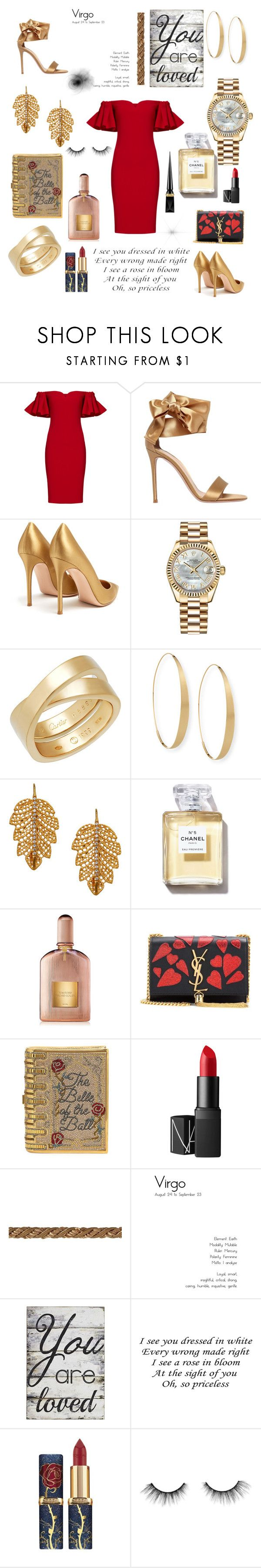 """""""Virgo - RedGold Double-Take."""" by phoenixdjb ❤ liked on Polyvore featuring Badgley Mischka, Gianvito Rossi, Rolex, Lana, Marika, Tom Ford, Yves Saint Laurent, Judith Leiber, NARS Cosmetics and Pier 1 Imports"""