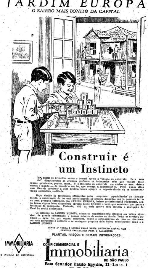 Propaganda de loteamento no Jd. Europa - 1935