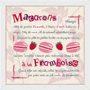 Fiche de broderie au point de croix de Lilipoints Macarons à la Framboise G009