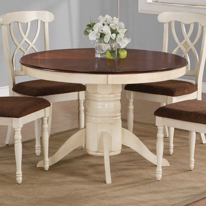 Thinking About Painting Our Kitchen Table I Like The Cream Colored Cream Painted Din Round Dining Table Sets Kitchen Table Settings Painted Dining Table