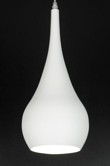 Hanglamp 71731: Modern, Retro, Aluminium, Wit 49.- voor boven keukeneiland