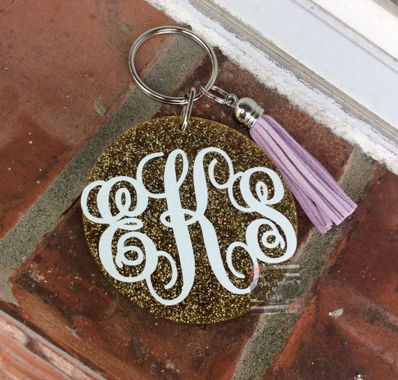 Monogram Keychain, Gold Glitter Monogram Key chain, Keychain with tassel , Monogram Gift , Glitter Key Chain, Monogram Car, Name Gift
