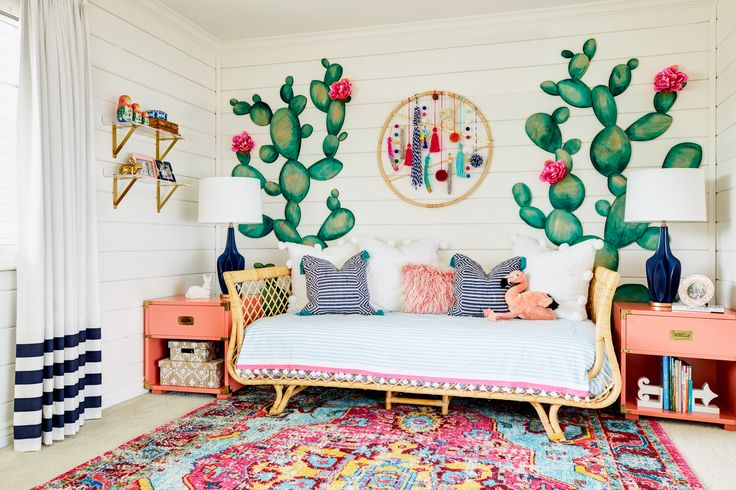 Boho Girl's Room with Cactus Accent Wall and Modern Colorful Dreamcatcher