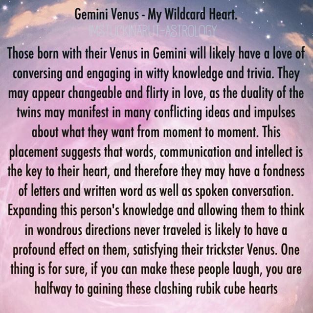 "Reposting from another favorite astrologer and author of mine #imstuckinarutastrology go and check out her tumblr and also her book called ""A collection of stardust"" - I always search for and aim to provide the truth on this account and would be wrong not to share these accurate posts. #Gemini #geminivenus #venusingemini #venus #astrology #badastrology #starsigns #zodiac #emmahill"