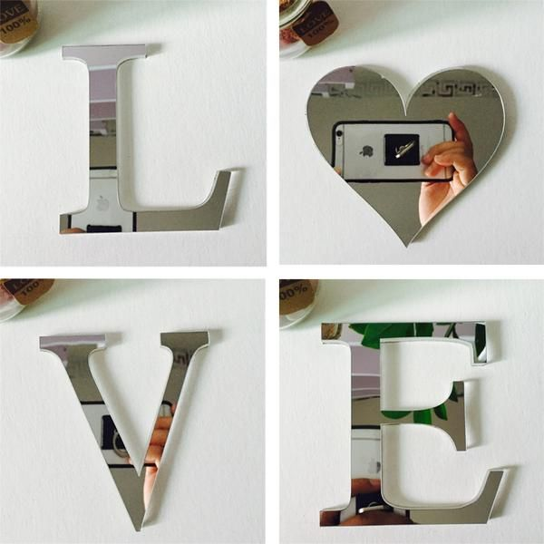 Get these beautiful mirror wall stickers of LOVE and HOME. Alphabetical Mirror Acrylic Wall Stickers/ decals
