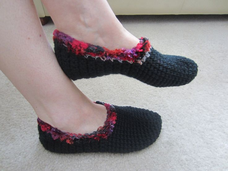 Black Crochet Slippers With Red Trim - Size 6.5 -7.5 by VioletsKnitwear on Etsy