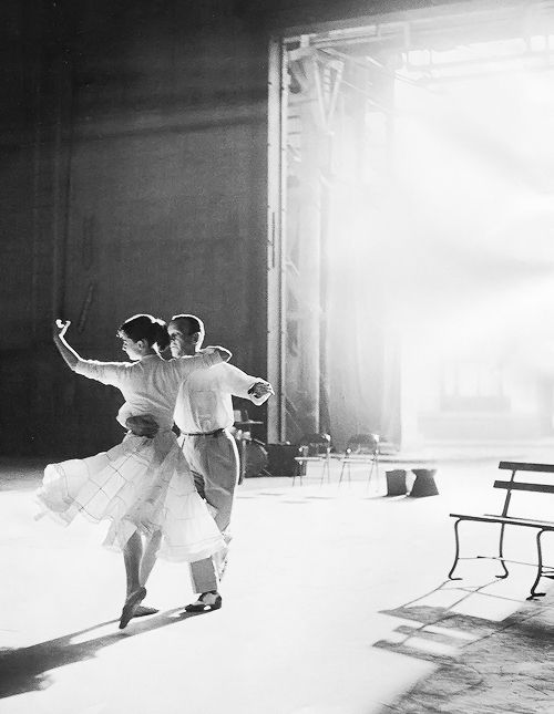 Audrey Hepburn and Fred Astaire rehearsing for  Funny Face , 1957