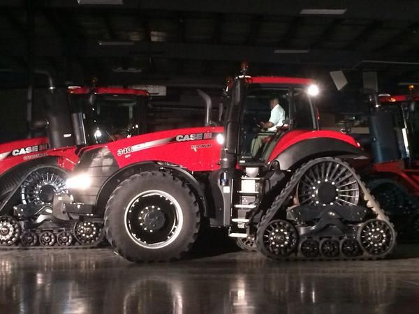 The new Case IH Magnum Rowtrac tractor, unveiled at the company's Nevada, Iowa, training center on August 25, 2014