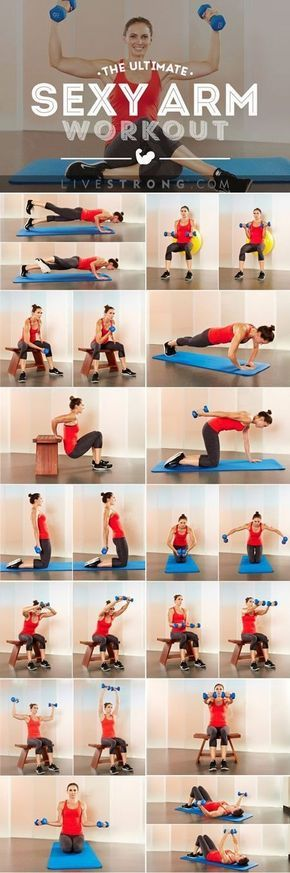 Research indicates arm exercises can actually help reduce muscle pain in your neck and traps. With these moves, you'll sculpt and define your arms, reduce excess fat, and get stronger and healthier. Click through for the sexy arm workout.