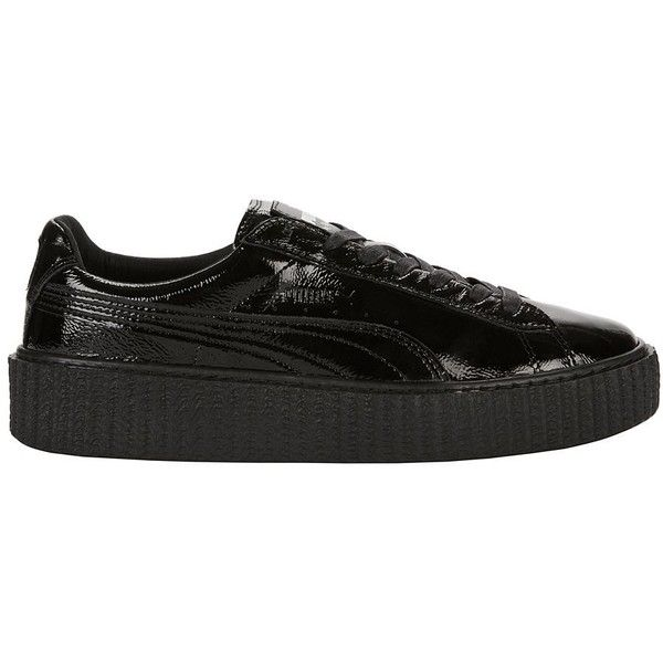 PUMA X FENTY by Rihanna Women's Creeper Black Leather Sneakers ($150) ❤ liked on Polyvore featuring shoes, sneakers, black, creeper sneakers, black laced shoes, leather platform sneakers, black platform shoes and puma trainers