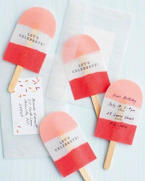 アイスキャンディ風のお祝いカード